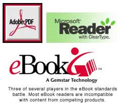 Three of several players in the eBook standards battle.  Most eBook readers are incompatible with content from competing products.